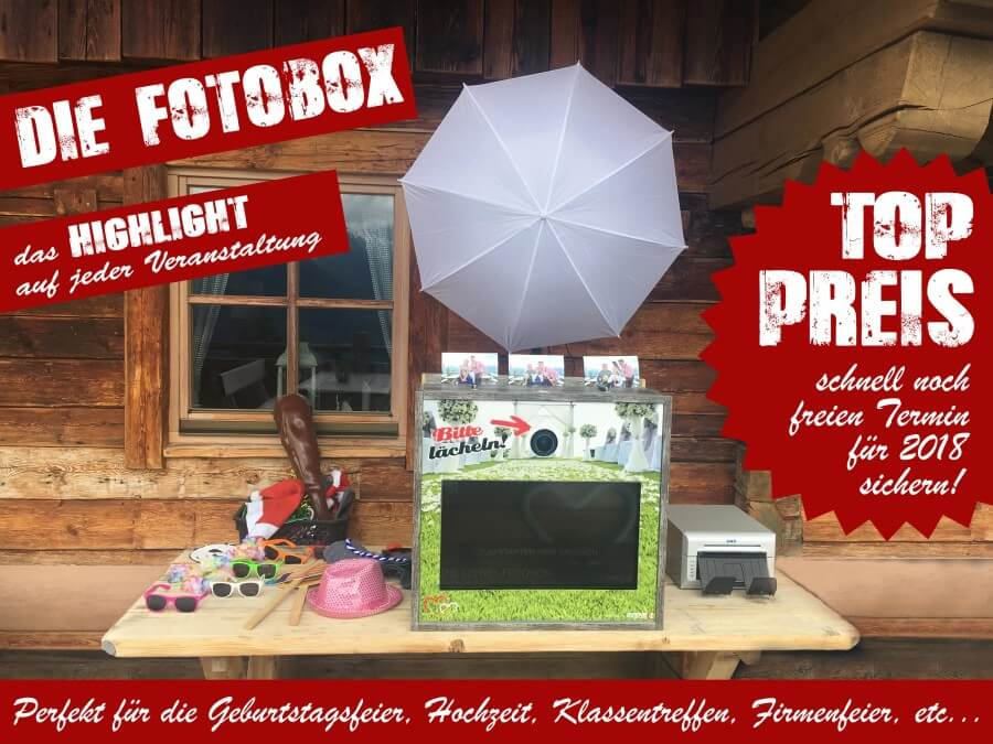 Fotobox für Geburtstagsfeier, Hochzeit, Firmenfeier, ... zum Mieten (Photo Booth, Foto Box)