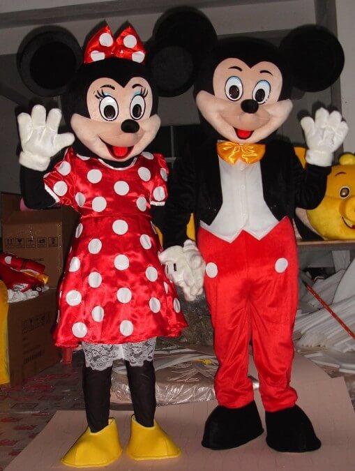 Maskottchen Micky Maus, Minnie Maus, Minion, Sponge Bob, Olaf und viele mehr
