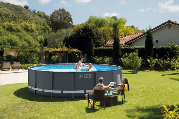 Intex Frame Pool Ultra Rondo Ø 488 x 122 cm inkl. Sandfilteranlage und Sicherheitsleiter und Poolchemie